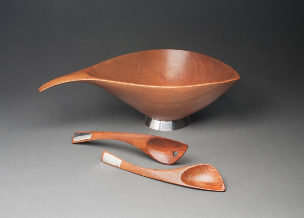 Salad Bowl with Silver Foot and Servers