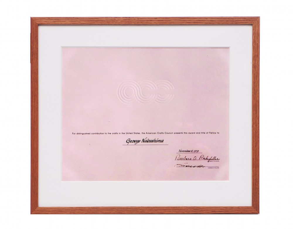Fellow of American Craft Council, framed