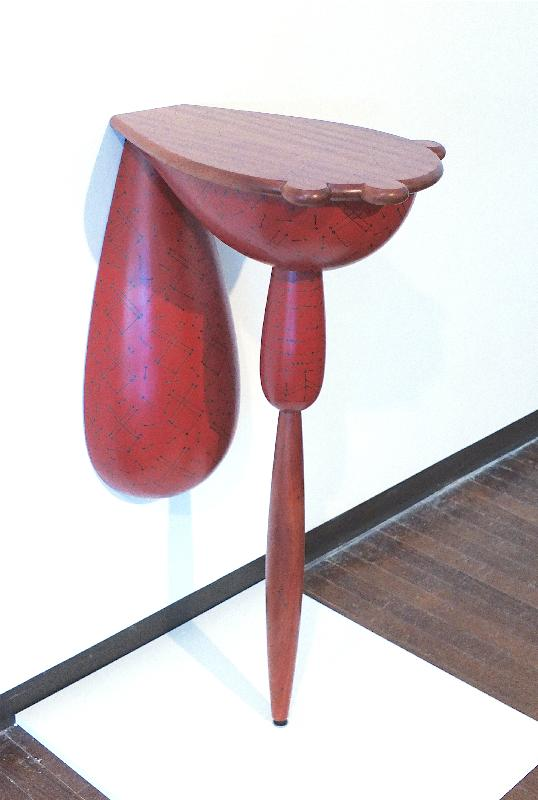 Red Demi Lune Patchwork Table