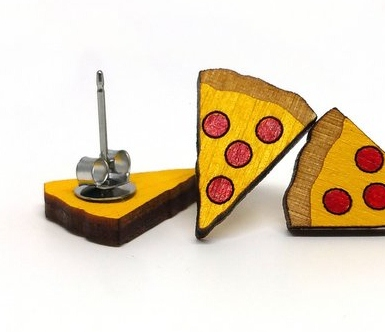 Unpossible Cuts pizza earrings