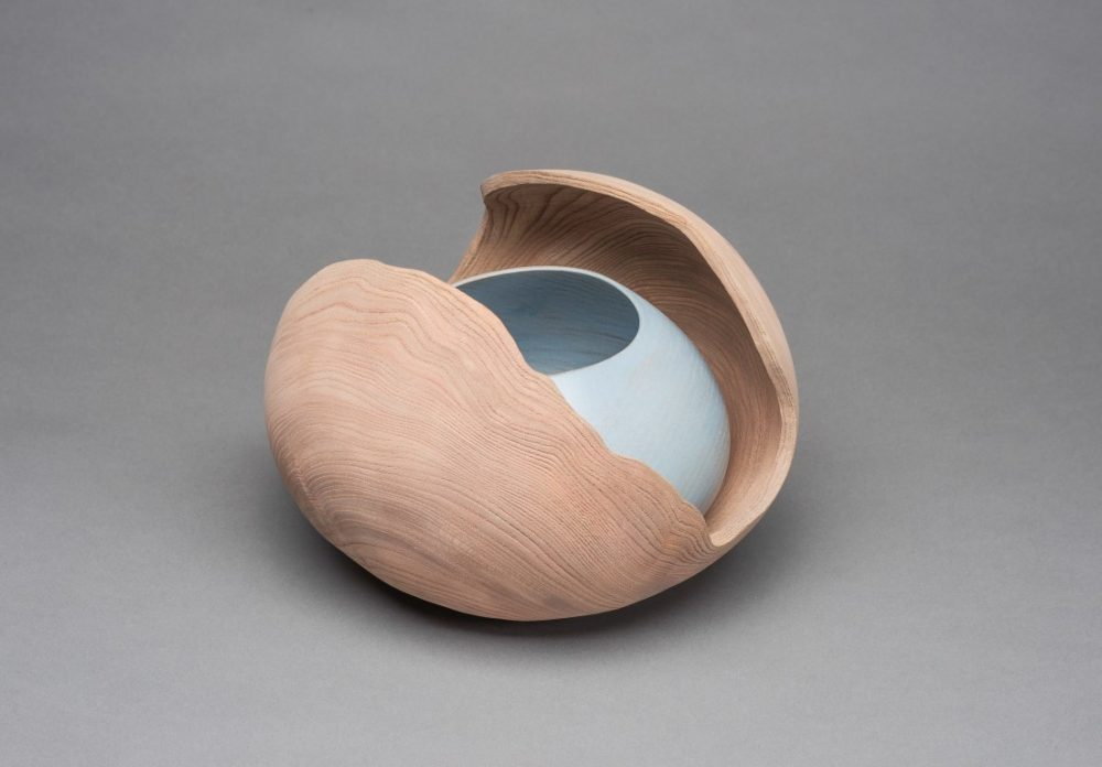 Last Stand-Eroded Rim Open Elm Vessel with Blue Bowl Inside