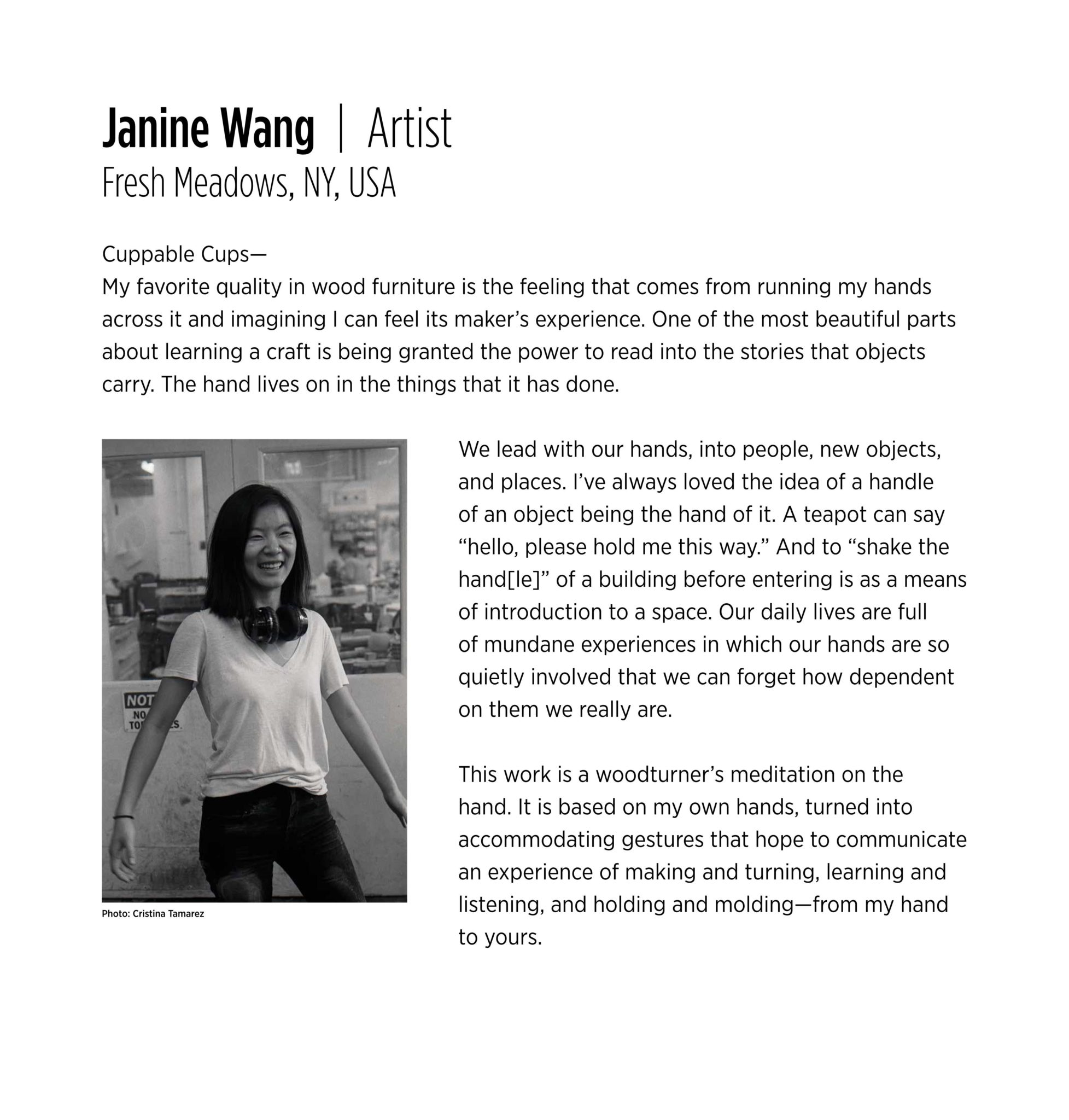 Artist Statement and bio  Janine Wang   The Center for Art ...